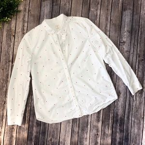 Gap White Fitted Boyfriend Pink Polka Dot Shirt